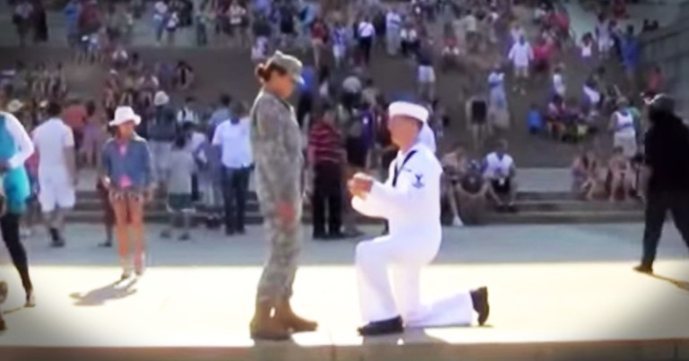 July 4th Sailor And Soldier Proposal Is Perfectly Patriotic