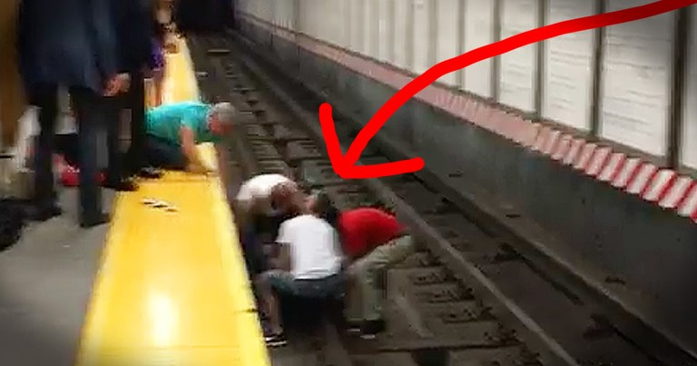 Strangers Heroically Save A Man Who Fell Onto The Train Tracks