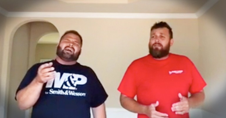 Singing Contractors Perform Beautiful Rendition Of 'Covered By The Blood' In Empty House