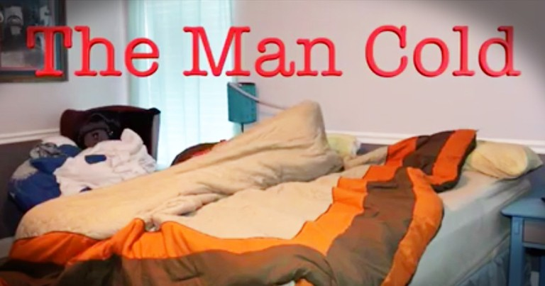 Wife Hilariously Reenacts Her Husband's 'Man Cold'