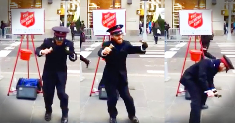 Dancing Salvation Army Bell Ringer Is Spreading Joy