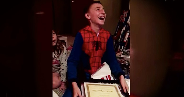 11-Year-Old Is Moved To Tears After Opening Present From His Step-Dad