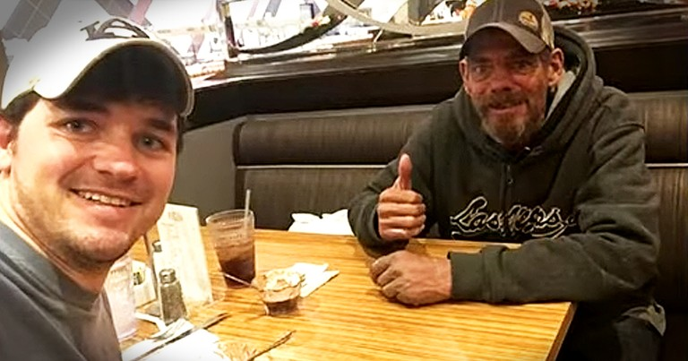 Man Wins Buffet Dinner And Invites Homeless Man