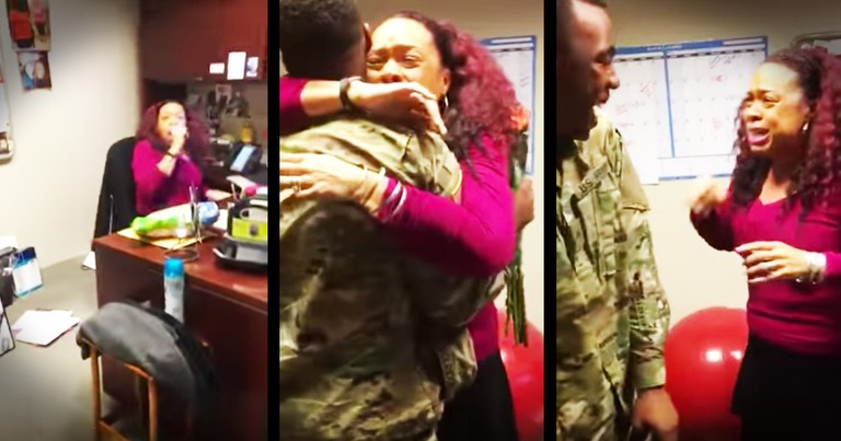 Soldier Surprises His Momma At Work For The Sweetest Reunion