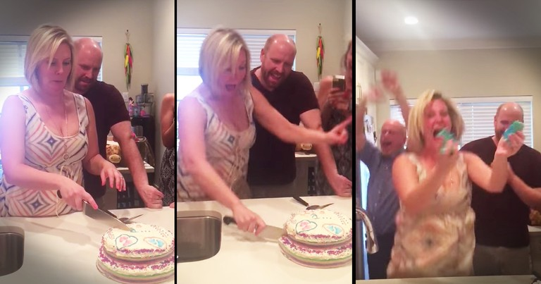 Mother Of 2 Daughters Grabs Cake In Excitement During Gender Reveal