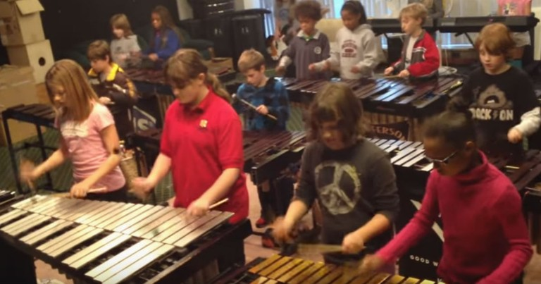 Kids Percussion Group Amazes With This Classic Song
