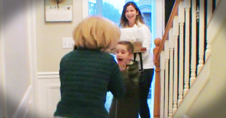 Little Boy Has The Sweetest Reaction To His Grandma Surprising Him For His Birthday