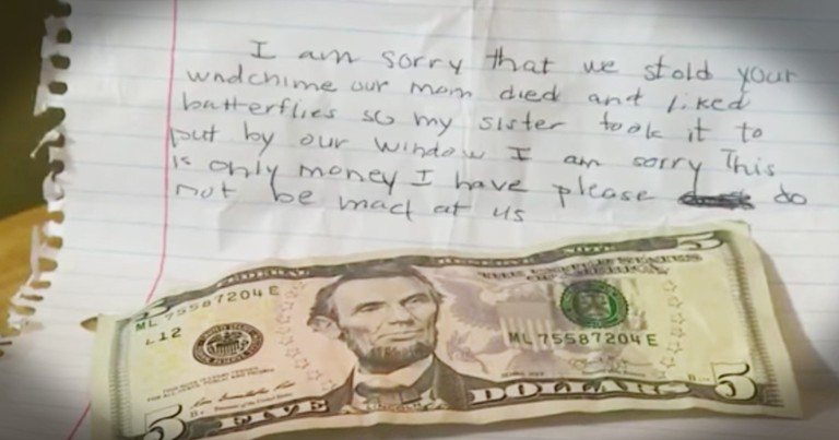 A Little Boy Stole Her Wind Chime And The Note He Left Is Heartbreaking