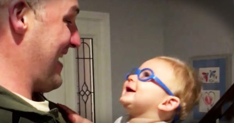 Hero Dad's Tears Start Flowing After His Son Sees Him For The First Time