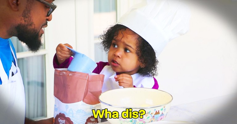 Dad Hilariously Tries To Bake A Cake With His Adorable Toddler