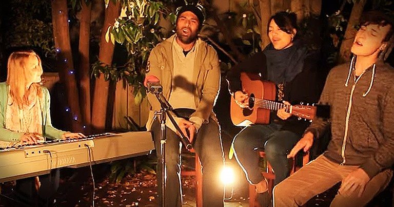 Friends Beautifully Worship The Lord Singing 'How He Loves' On The Porch
