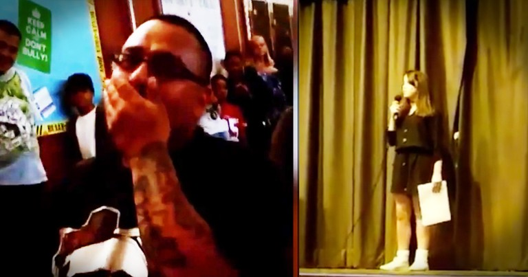 Girl's Talent Show Performance Is Going Great Until She Sees Her Step Dad And Can Barely Speak