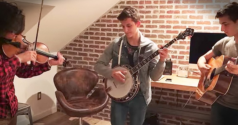 3 Brothers Play Amazing Bluegrass Jams In Their Bedroom
