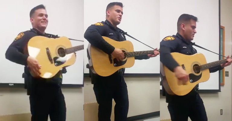 Police Officer With An Incredible Voice Sings 'Folsom Prison Blues'