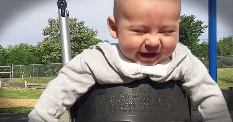 Camera Captures Baby's Pure Joy On The Swing Set