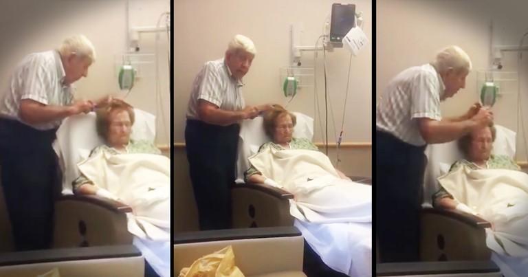 Sick Wife's Husband Sweetly Brushes Her Hair