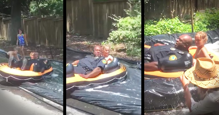 Police Officer Called In To Shut Down Slip-in-Slide Joins In