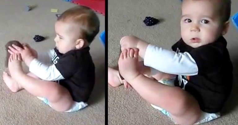 Adorable Baby Attempts To Put His Sock On By Himself