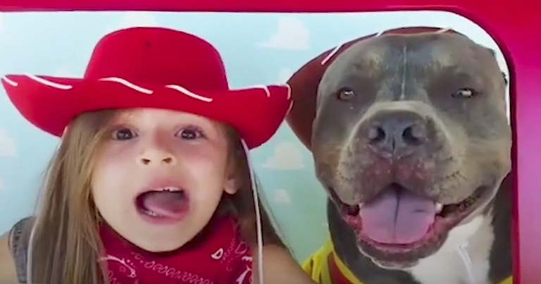 Little Girl Sings 'You've Got A Friend In Me' To Her Pit Bull