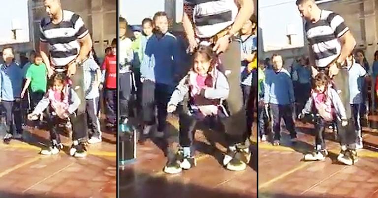 PE Teacher Helps Disabled Girl Dance With Class
