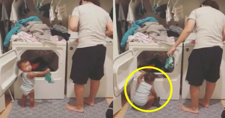 Adorable 1-Year-Old Girl Helps Her Dad Do Chores
