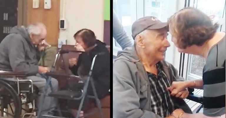 Elderly Couple's Heartfelt Reunion After Being Forced To Live Separately