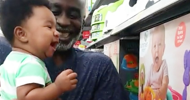 Adorable Boy Can't Stop Laughing At Picture Of Smiling Baby