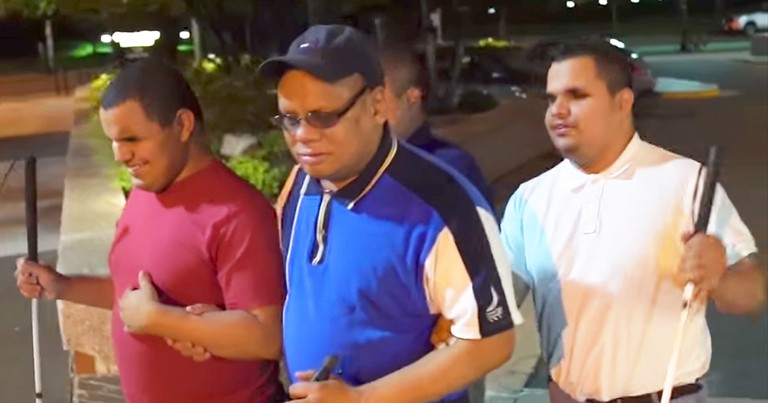 Blind Man Selflessly Helps Mentor Struggling Blind Triplets
