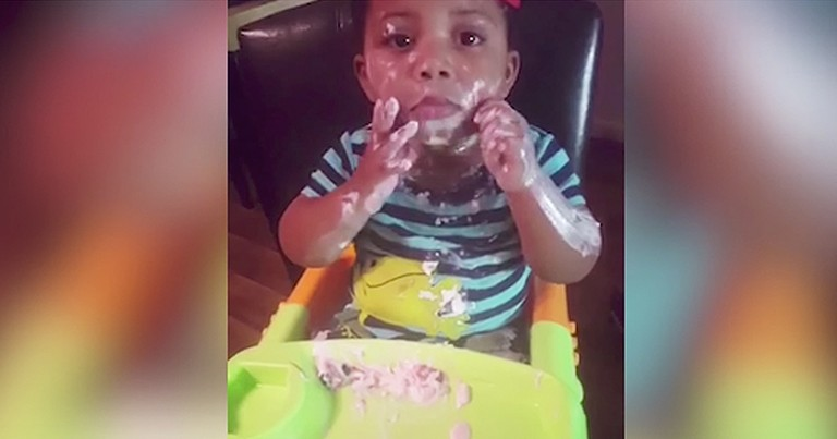 Hilarious Baby Makes Huge Mess Eating Yogurt