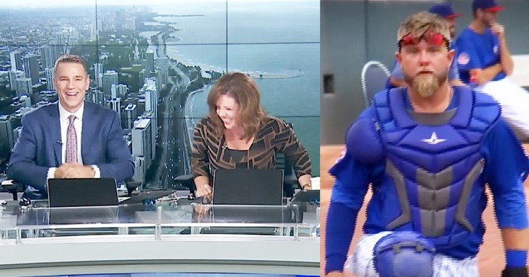 News Anchors Laugh Watching Baseball Player's Funny Faces