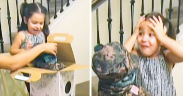 Little Girl's Reaction To Surprise Birthday Gift From Soldier Dad Goes Viral