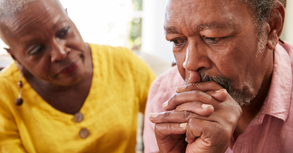 senior wife looking concerned at troubled husband, prayer for spouse who won't communicated
