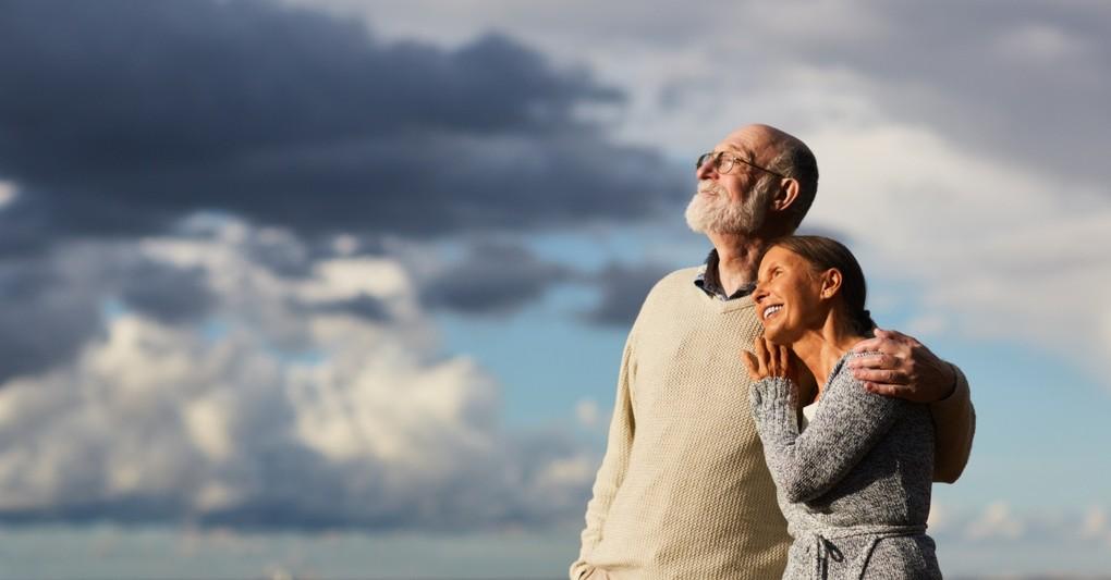 senior couple gazing at sunset peaceful, marriage built on christ