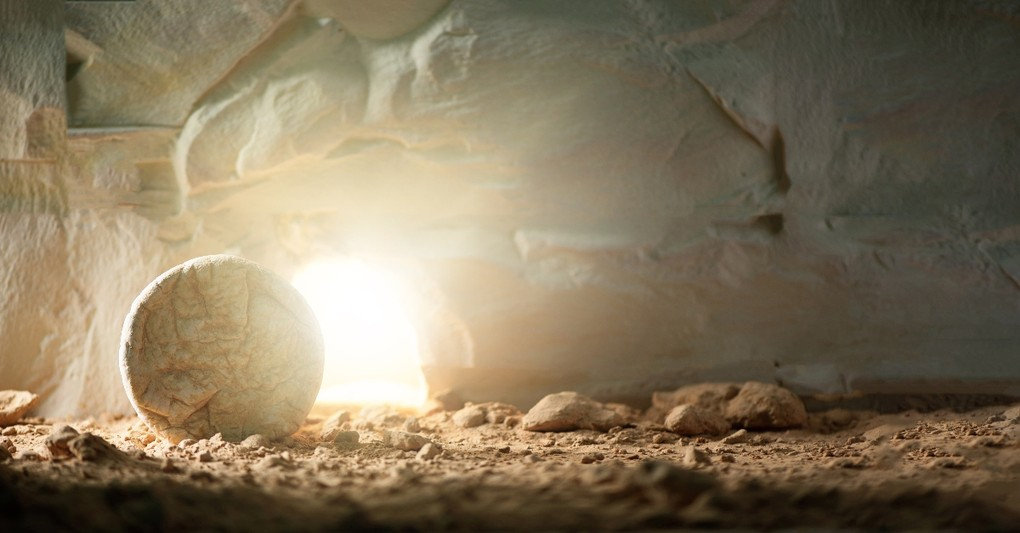light coming from tomb with stone rolled away, what the resurrection teaches us about life after death