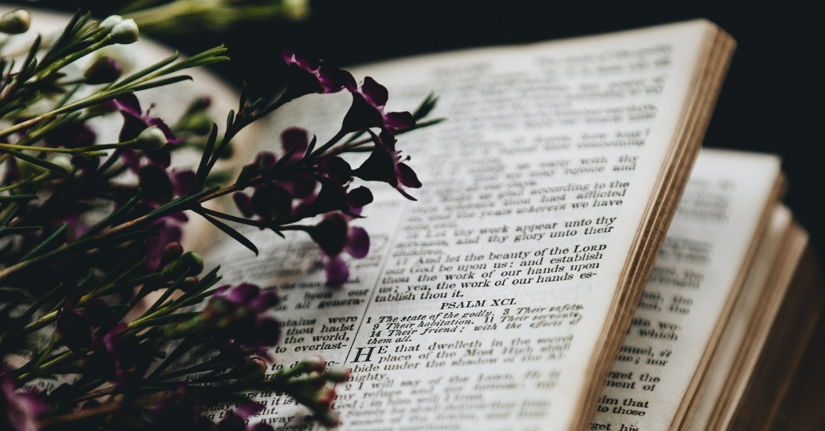 psalms with purple flowers laying on top