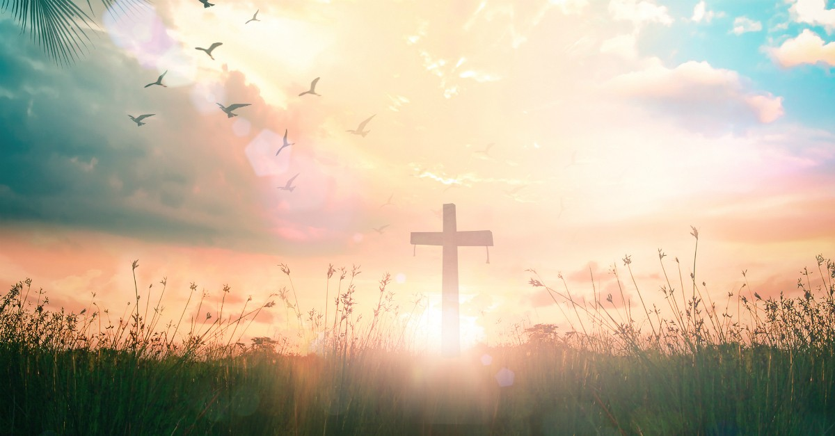 Cross in a hazy field - love one another
