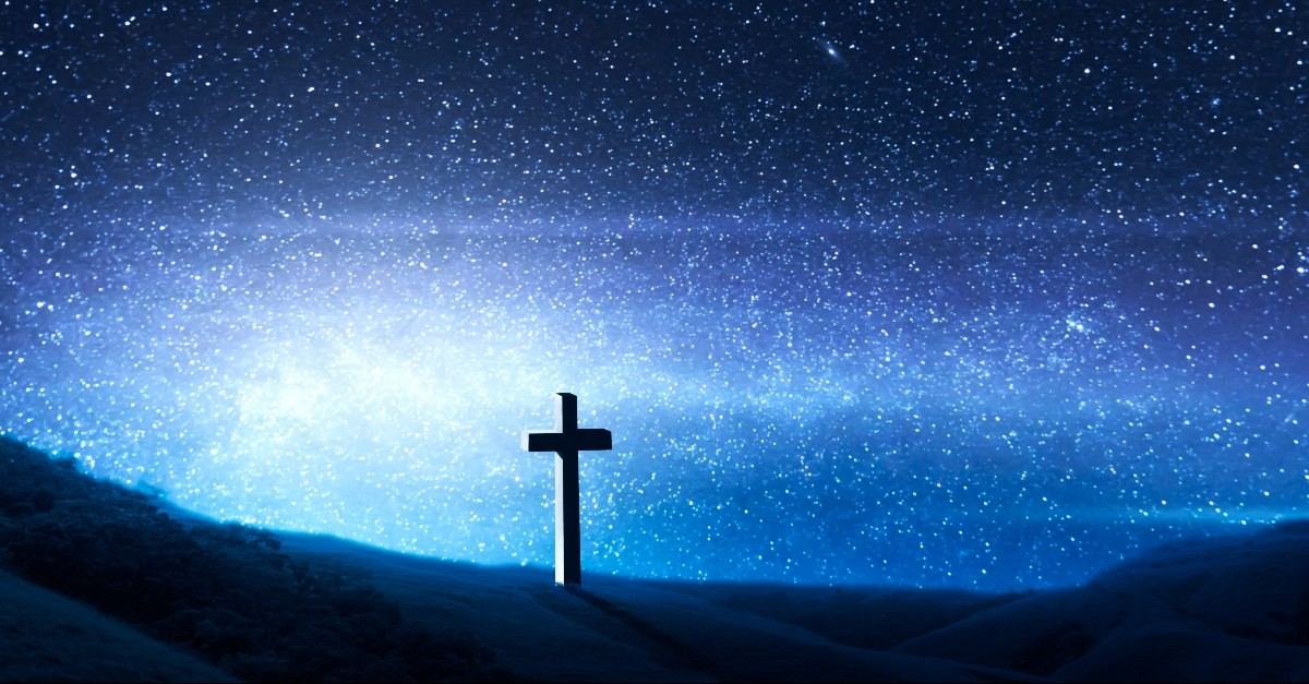 Cross with a star background