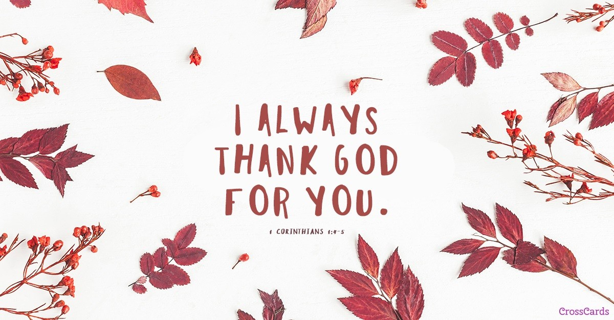 give thanks, greeting card, 1 corinthians 1:4-5