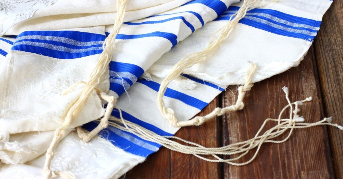 jewish prayer shawl blue white tassles cloth