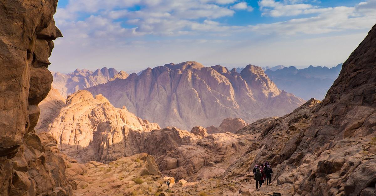 Mount Sinai in the distance against the backdrop of blue sky
