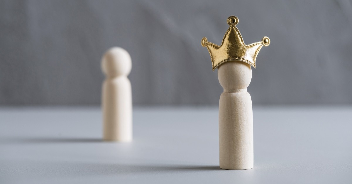 Wooden figure with a crown