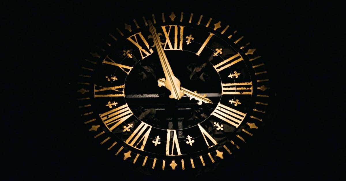 Golden face of a clock