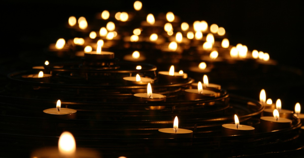 Cluster of lit candles