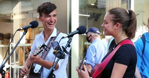 Young Street Buskers Sing 'Unchained Melody' Duet - Inspirational Videos