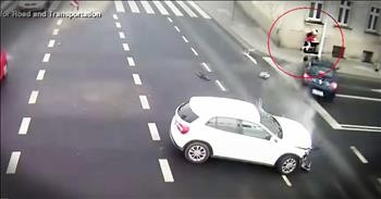 Light Post Miraculously Saves Woman From Crazy Car