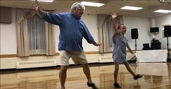 72-Year-Old Grandfather Tap Dances With Granddaughter