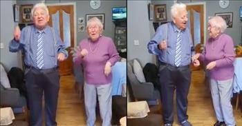 Elderly Irish Couple Lift Spirits With Dance To 'Stayin' Alive'
