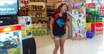 Random Girl In Store Starts Singing Karaoke And Stuns The Crowd