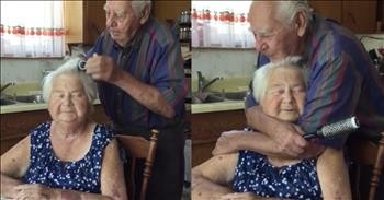 Husband Brushes His Wife's Hair In Sweet Moment Captured By Grandchild