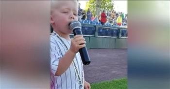 3-Year-Old Belts Out The National Anthem At Baseball Game